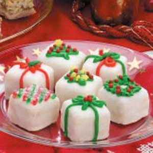 Christmas Petits Fours Recipe  These pretty, dainty petit fours are attractive and fun to make. You can trim them simply with sprinkles or more elegantly, as time allows.—