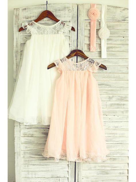 Flower Girl Dress Tea-length Chiffon/Lace A-line Sleeveless Dress - USD $ 54.99