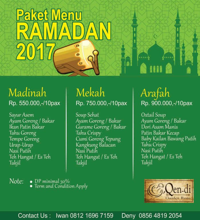 Paket Menu Ramadhan Qendi Resto SIdoarjo