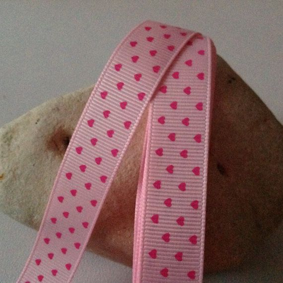 """2 Yards of 5/8"""" Grosgrain Ribbon, Pink with Dark Pink Heart Pattern $3.49"""