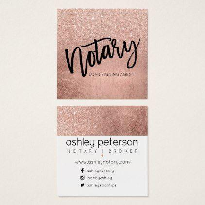 Notary typography FAUX rose gold glitter foil Square Business Card - glitter glamour brilliance sparkle design idea diy elegant