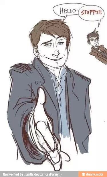 Captain Jack Harkness flirting with everyone he talks too and the Doctor not having any of it