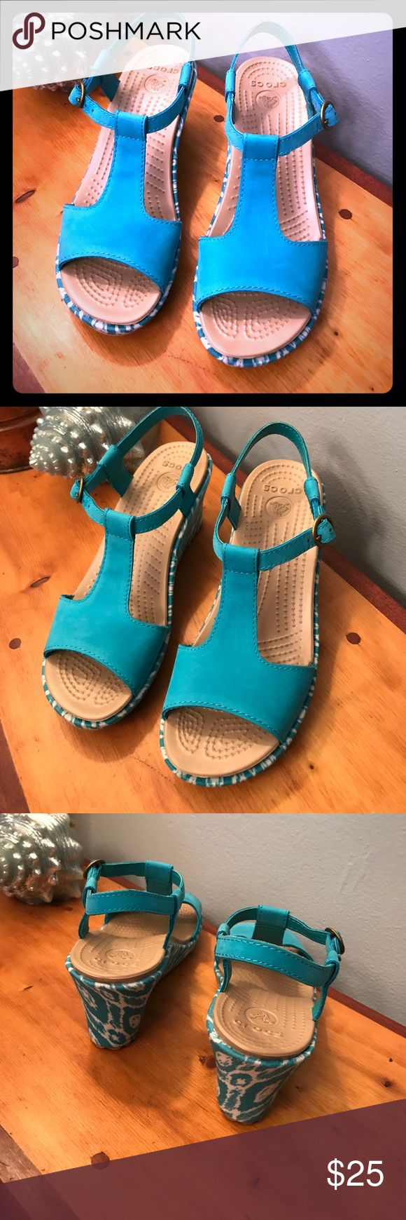 Crocs 7 teal sandals wedges See photos for details and measurements (#813) CROCS Shoes Wedges