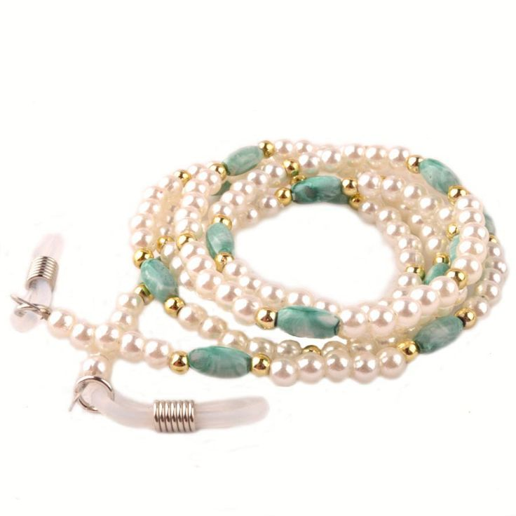 New Arrivals White Acrylic Pearl Bead Eyeglass Sunglass Spectacle Cord Neck Strap String Chain Link Holder $4.82
