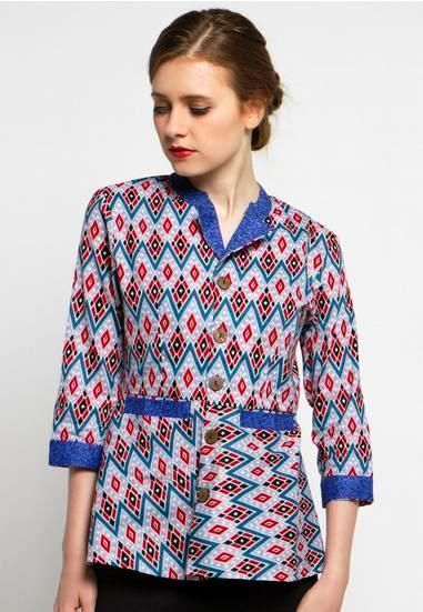 Model Baju Batik Modern Yang Keren Dan ッ 42 Model Baju Batik atasan  Wanita Kerja Lengan 3a7430e3a2