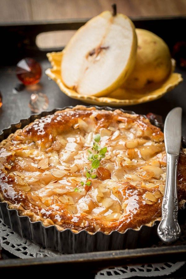 Amaretto Poached Pear and Almond Cream Tart | By Let the Baking Begin!