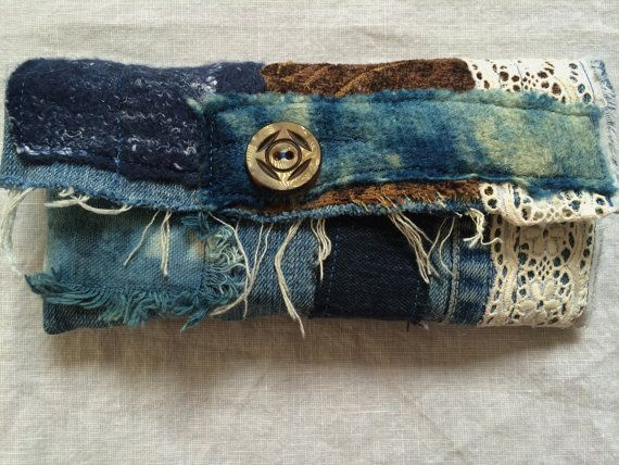 Denim wallet boro textile, indigo dyed wool detail, with lace and card and change pockets