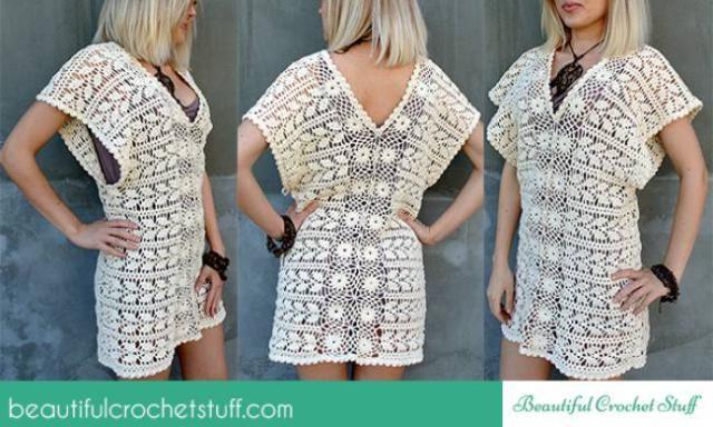 20 FREE Crochet Leaf Patterns for Every Season: Leaf Tunic Free Crochet Pattern