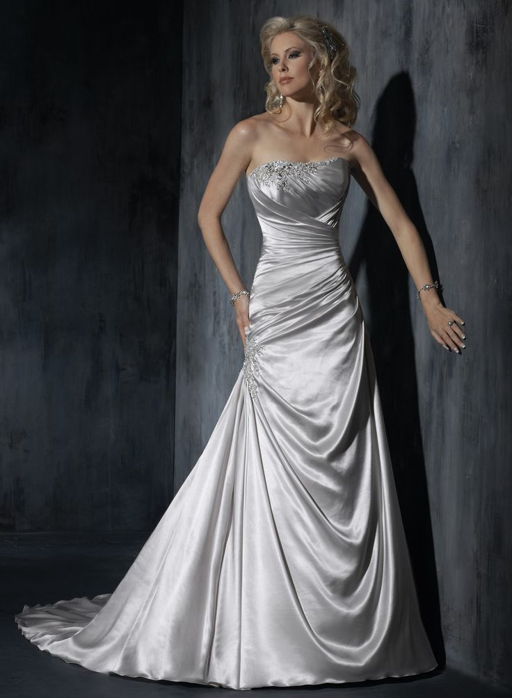 Stretch Satin Beaded Embellishments Strapless Dipped Neckline A-line Wedding Dress