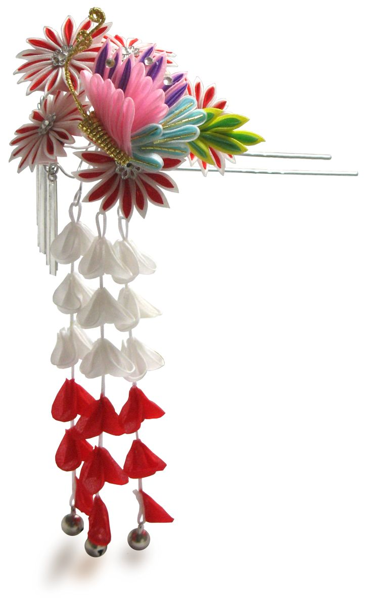 Japanese hair ornaments - Love This One Tsumami_kanzashi If I Do A Coloured Kimono