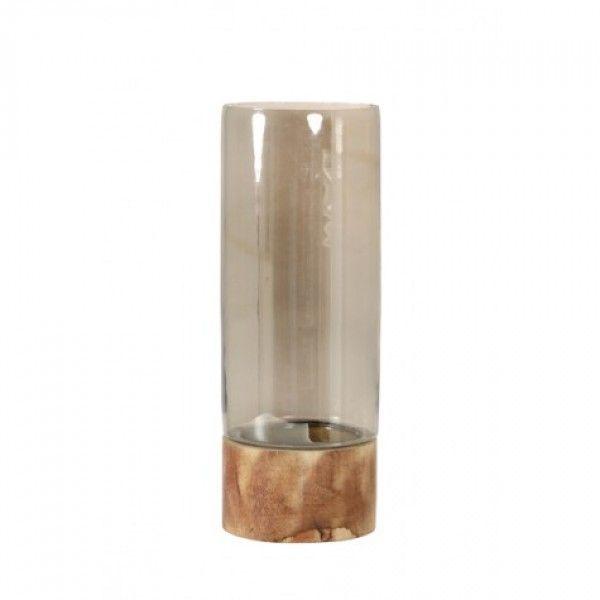 Windlicht Ø13x34 cm ANDRIA glas smoked bruin