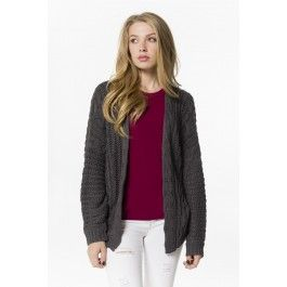 Oversized charcoal cable knit cardigan