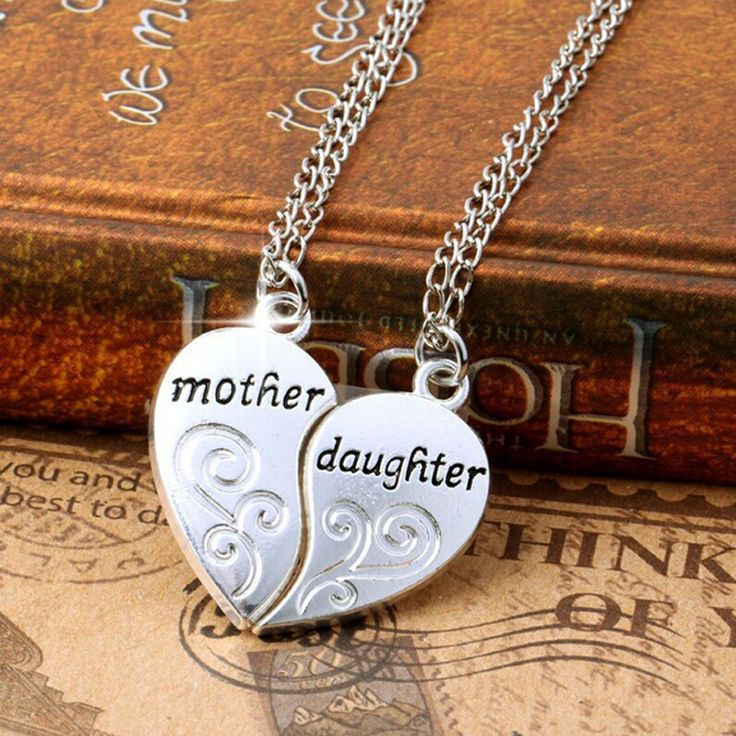 2 unid plateado hija de la madre collar de plata del corazón mamá collares y colgantes para para la joyería Collier Femme P1303