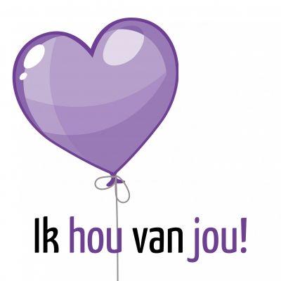 Ballon | Ik hou van jou! (Copyright www.kaartenbakker.nl)