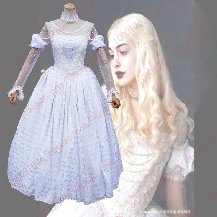 2016 New Style Alice in Wonderland Costume Cosplay The White Queen Costume Dress Fantasias Halloween Costumes For Women-in…