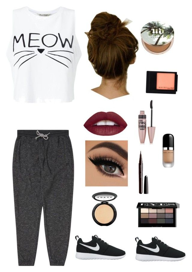 """Comfy Casual"" by booksandeverydayfashion on Polyvore featuring Miss Selfridge, Billabong, Maybelline, Urban Decay, LORAC, Marc Jacobs, Bobbi Brown Cosmetics and NIKE"