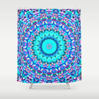 ARABESQUE Shower Curtain #arabesque #shower #curtain #showercurtain #bathroom #apartment #mandala #kaleidoscope #mint #teal #blue #ocean #pink #glass #vibrant #girls #apartment #new