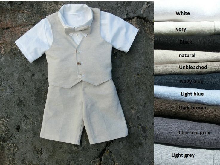 Ring bearer shorts outfit, boys bow tie, shorts, shirt, vest. Boys linen suit, toddler boy outfit, boys wedding outfit, ring bearer suit by englaCharlottaShop on Etsy https://www.etsy.com/listing/401045387/ring-bearer-shorts-outfit-boys-bow-tie