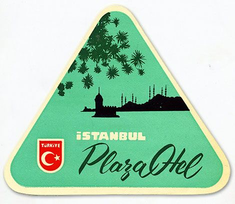 vintage luggage tag- Istanbul