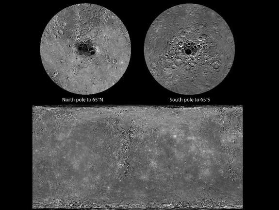 At the very end of 2012, MESSENGER obtained the final image needed to view 100 percent of Mercury's surface under daylight conditions. The mosaics shown here cover all of Mercury's surface and were produced by using the monochrome mosaic released by NASA's Planetary Data System (PDS) on March 8, 2013, as the base. This image was released May 31, 2013.