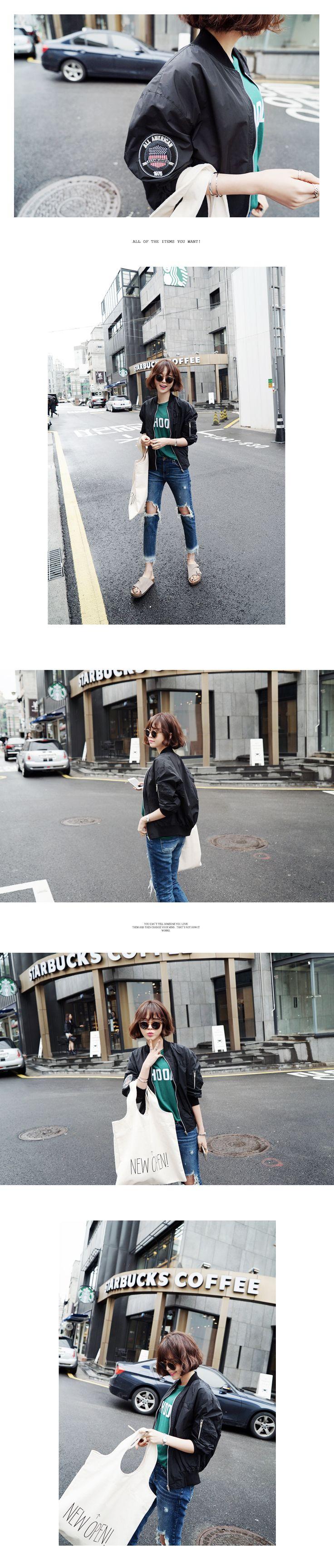 スリーブワッペンMA-1ジャケット・全3色アウターパーカー・ブルゾン|レディースファッション通販 DHOLICディーホリック [ファストファッション 水着 ワンピース]