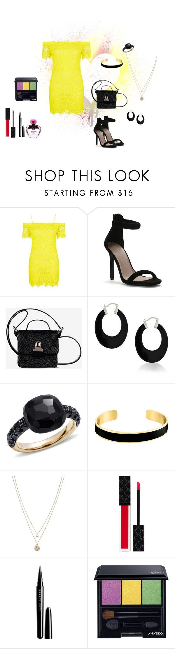 Yellow dress by kelly17-kalymnos on Polyvore featuring Topshop, MM6 Maison Margiela, LC Lauren Conrad, Bling Jewelry, Pomellato, VANINA, Shiseido, Gucci, Marc Jacobs and Moschino