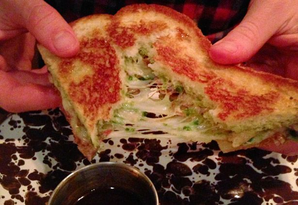 """Duck Pancake"" Grilled Cheese from Drafting Table in Washington, DC; I wonder if I can make this at home, since I can't fly out to DC any old time I feel like it."