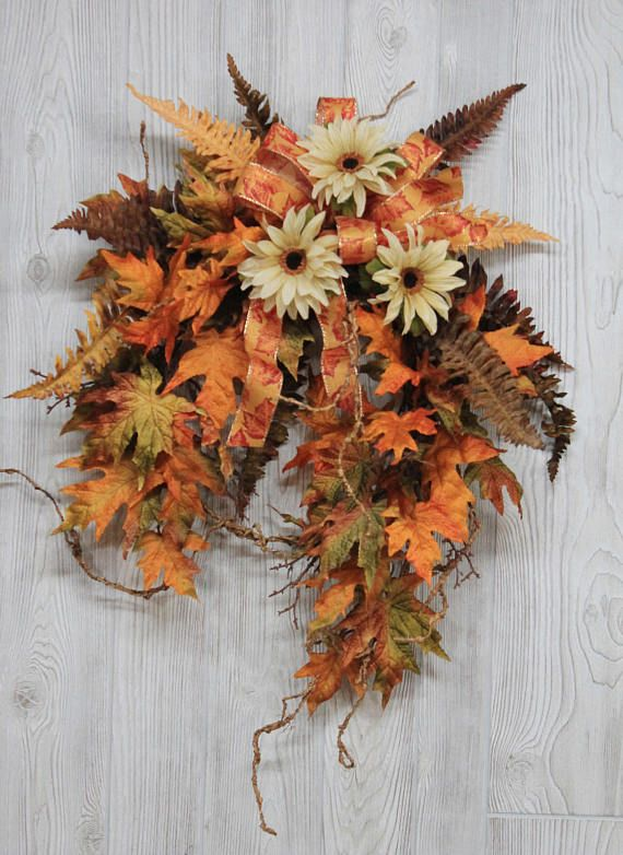 Ships Free, Fall Wreath, Autumn Wreath, Country Fall Decor, Unique Fall Wreaths, Fall Leaf Wreath, Farmhouse Fall Wreath, Rustic Fall Decor  This beautiful fall wreath is a must-have for your front door or home decor! To give this wreath a light and airy look, I designed this wreath using unique vines. Included in this wreath: brown textured vines maple fall leaves cream rudbeckias fall ferns leaf design fall bow  Finished size is approximately 28 tall, 24 wide, 9 deep. I measure all my…
