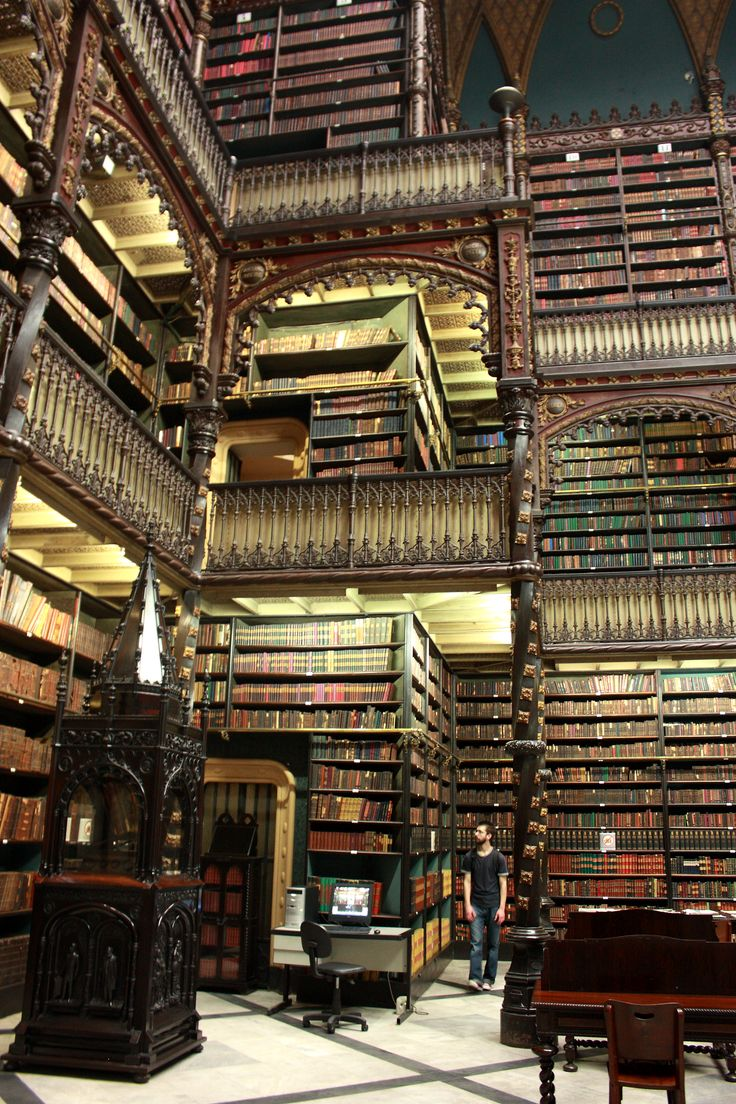 vintage photos of librarians | Three floors of very old books in a very old library