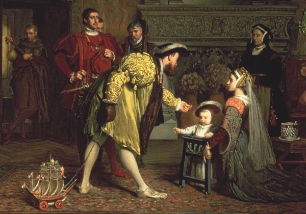 Henry VIII shown on a visit to his son Prince Edward, who was raised away from court from an early age. The prince, born in 1537, is seen in a walking frame.