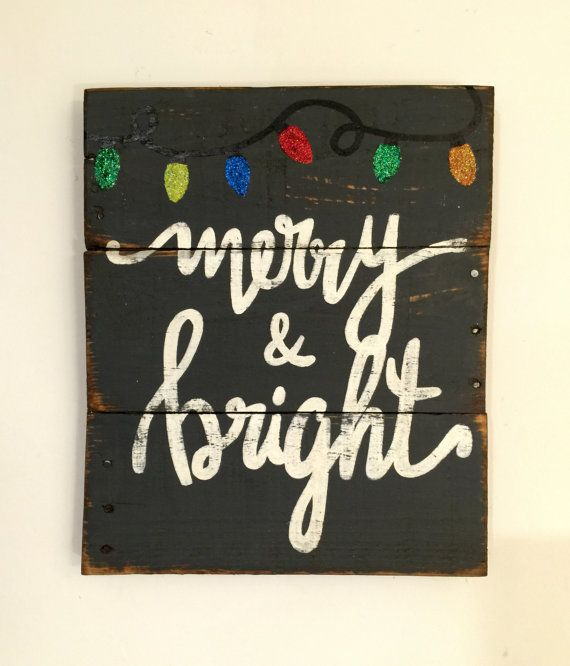 Merry and Bright Wood Sign / Rustic Christmas by PalletsandPaint