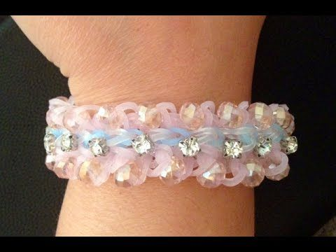 Sparkled layered Ruffles Loom Bracelet: How to add glass beads to loom bracelets - YouTube