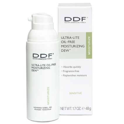 DDF Ulta-lite oil-free moisturizing dew    I have been using the sample I received in my birchbox a while back.  I've always been scared of using moisturizers on my oily/acne-prone skin but this one is so light and non-irritating.  So far this is the best one I have tried.  It is not paraben free but it is free of oil and fragrance, 2 big skin agitators for me.    ===== #testing