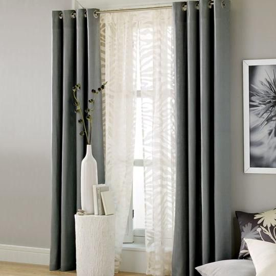 Grey window curtains grey curtains for living room 1 for Curtain designs living room