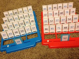 I just found an old guess who game. This will be a perfect math game during our place value unit!
