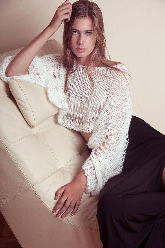 Crop sweater long bat wing sleeves short hand knit top by beWoolen