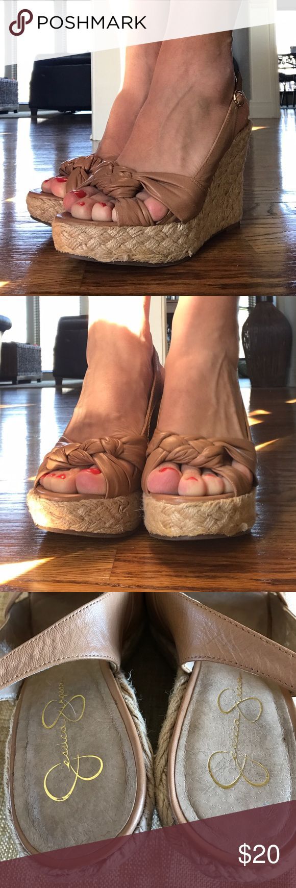 "Jessica Simpson Wedge Sandals. nude. SZ 7.5 EUC straw heeled wedge sandal. 4"" wedge. Worn a handful of times but, from driving, there is some discoloration on the bottom back souls (as pointed out in pic). Jessica Simpson Shoes Sandals"