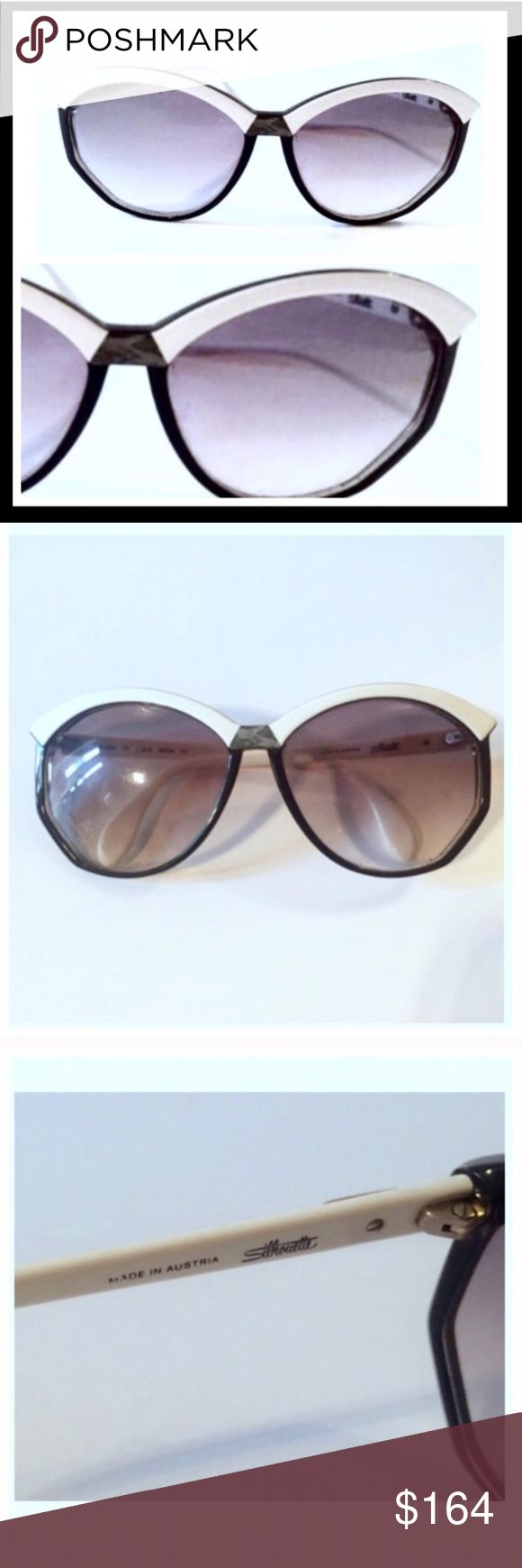 """Vintage Silhouette Sunglasses, Two Tone, Austria I can't believe I'm selling these but the day has come! One of my favorite pairs of shades.   Silhouette sunglasses are amazingly made and always carry a ton of personality.   Rx quality.  Excellent Condition!   6"""" wide 2.5"""" top to bottom Silhouette Accessories Sunglasses"""