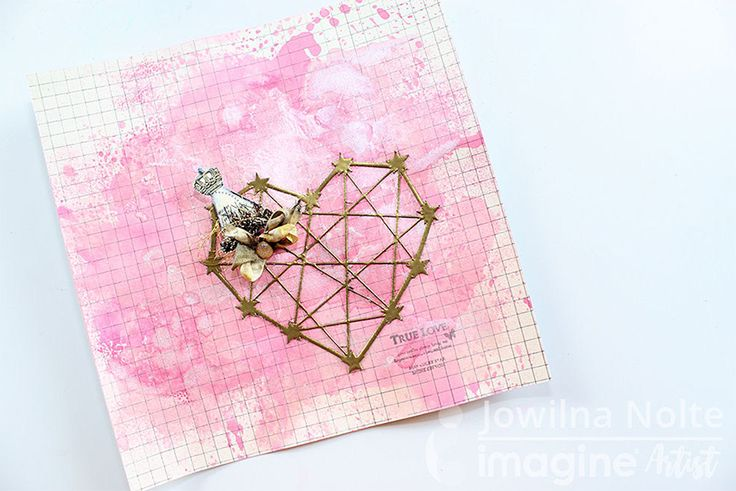 Jowilna Nolte creates a journal page with embossed diecut geometric heart and cover the page in Fireworks shimmer. papercraft. cardmaking. handmade card.