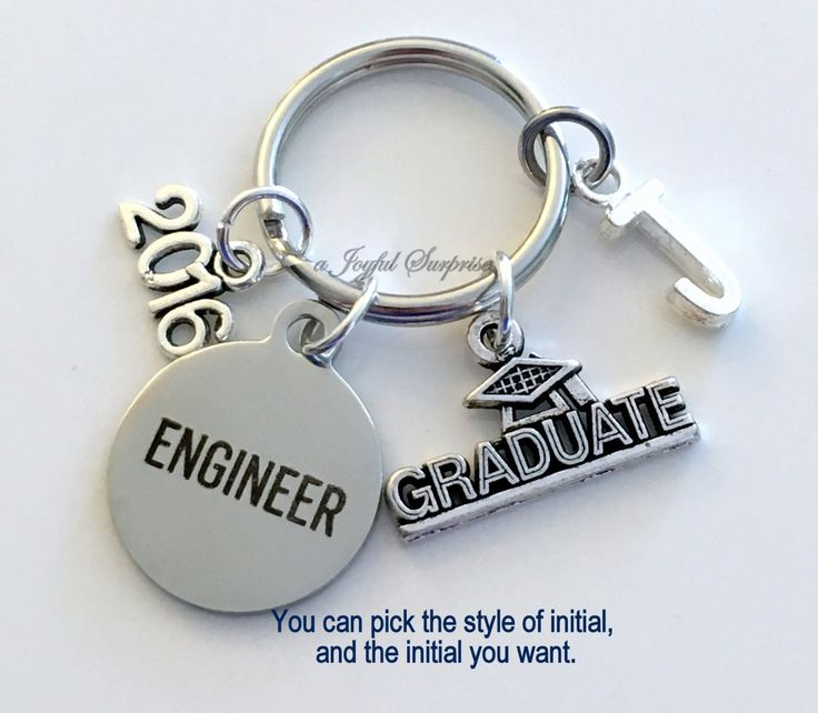 Engineer Graduation Gift Engineering Keychain for Mechanical Civil Industrial Student Grad 2016 Key Chain Keyring Graduate initial 2017 2018 by aJoyfulSurprise on Etsy