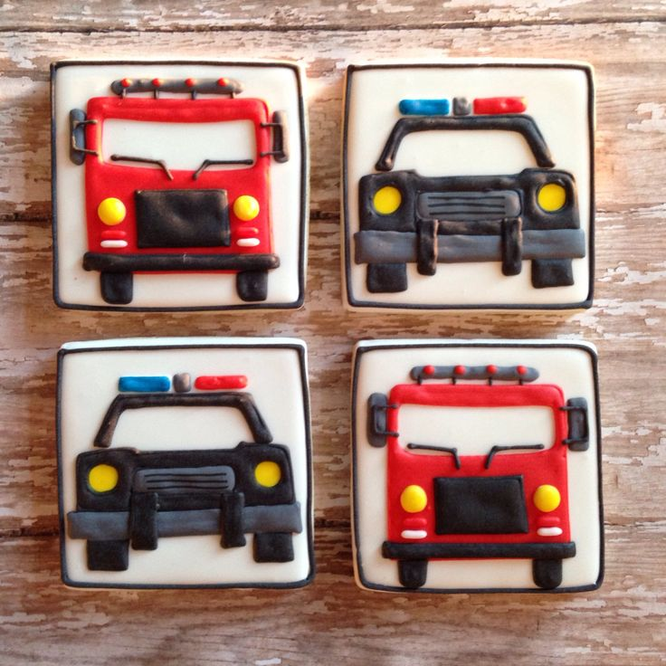 Rescue Vehicles~ by SweetCBakeShop on Etsy, $42.00, Black police car, red fire truck, square