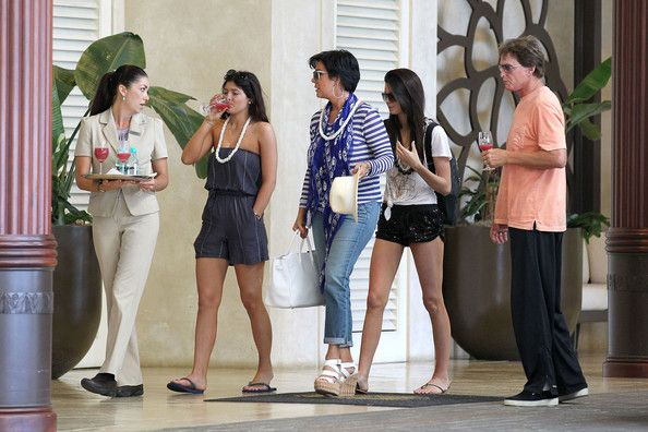 Exclusive... The Jenner family arrives at their posh hotel in Hawaii on May 30, 2012. The family enjoyed a glasses of pog juice as they headed inside, ready to start their Hawaiian vacation...