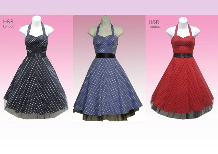 H&R London Small Polka Dot Long Dress Halter Neck Pinup Rockabilly