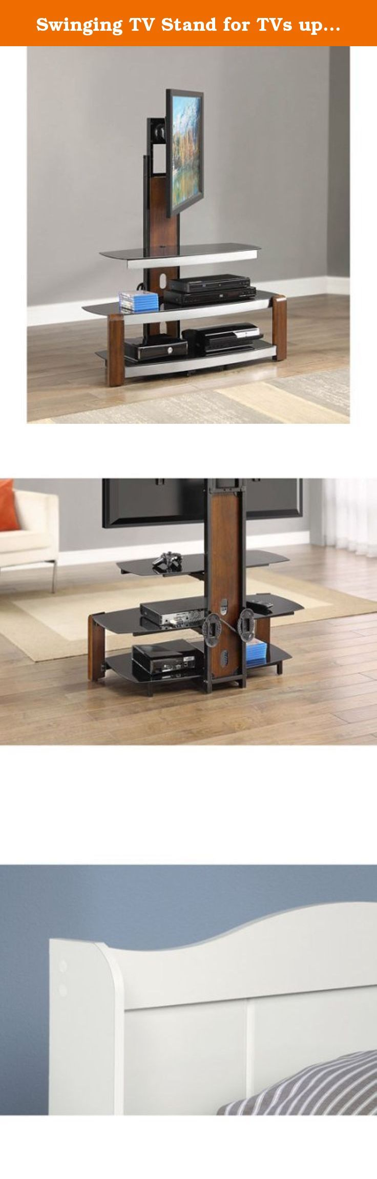 """Swinging TV Stand for TVs up to 47"""", Brown Cherry Brown cherry finish with silver accents Sturdy steel frame construction Brown cherry finish with silver accents Product Dimensions: 41""""L x 20""""W x 54""""H. Product Features TV stand accommodates most flat panel TVs up to 47"""" with a maximum weight of 135 lbs Brown cherry finish with silver accents 3 tempered black glass shelves with ample storage Cable organization wheels which allow the flat-panel TV stand to conceal TV and other player cables..."""