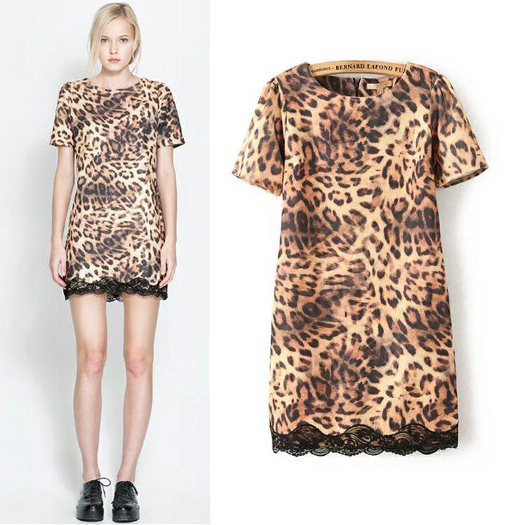 79ю s m l 2014 весной и летом в Европе и Америке Вентилятор подшивание кружева леопардовым принтом с короткими рукавами платья женские бэк юбки - Taob ...