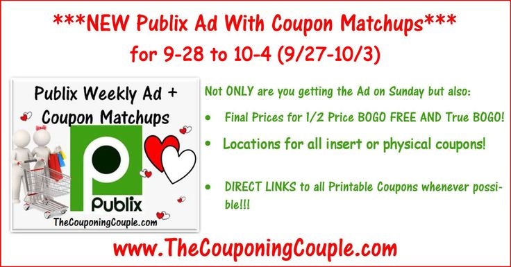 Here is the Publix Ad with coupon matchups for 9-28 to 10-4 (9/27-10/3 for those whose ad begins on Wed). Enjoy!  Click the link below to get all of the details ► http://www.thecouponingcouple.com/publix-ad-with-coupon-matchups-for-9-28-to-10-4-927-103/ #Coupons #Couponing #CouponCommunity  Visit us at http://www.thecouponingcouple.com for more great posts!