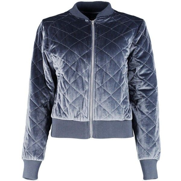 Boohoo Isla Quilted Velvet Bomber | Boohoo ($46) ❤ liked on Polyvore featuring outerwear, jackets, tops, bomber jacket, coats, blouson jacket, flight bomber jacket, blue velvet jacket and quilted jacket