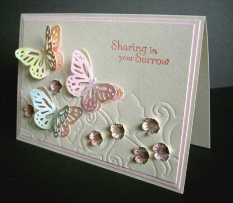 Butterfly Sympathy Card. Because I seem to spend half of my creative life making sympathy cards. A new twist to go with the butterfly verse. Love the embossed background idea for the butterflies.