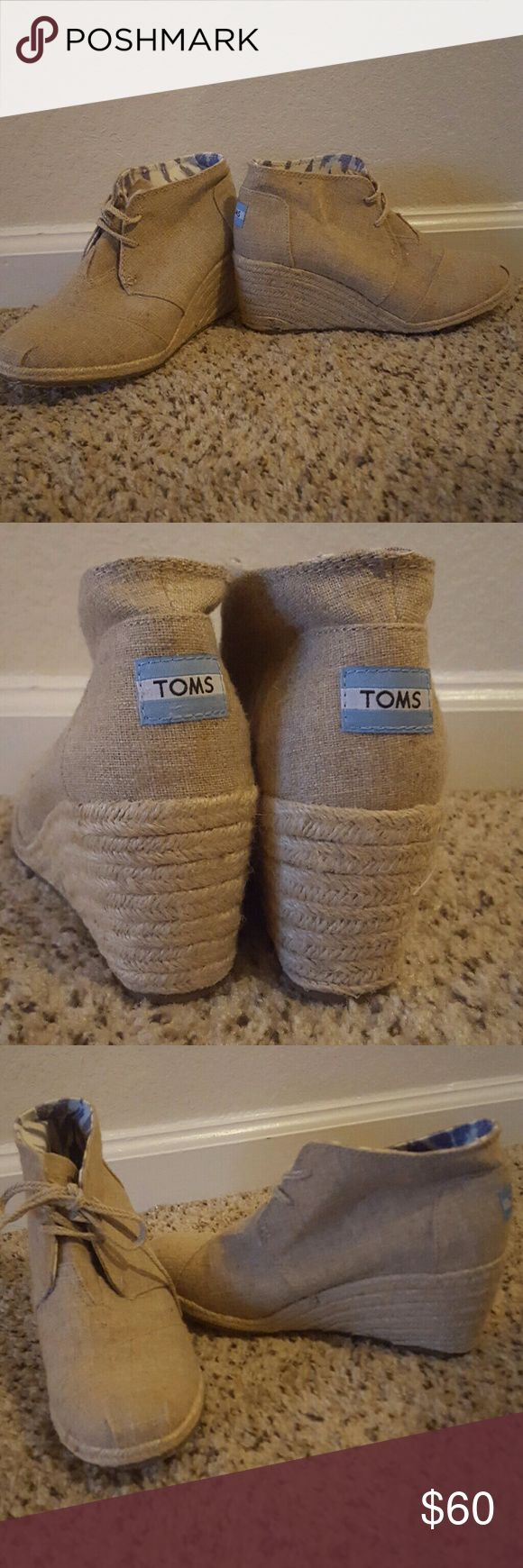 TOMS Jute Wedges (size 8.5) These Toms wedges have never been worn and are in excellent condition. They are a natural jute color with ties and are very comfortable to walk in. Size 8.5 TOMS Shoes Wedges
