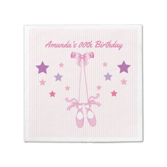Pink Ballerina themed Birthday Party personalized Napkin